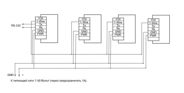 Подключение датчиков уровня топлива Прогресс ТМК.2И1 в сетевом режиме