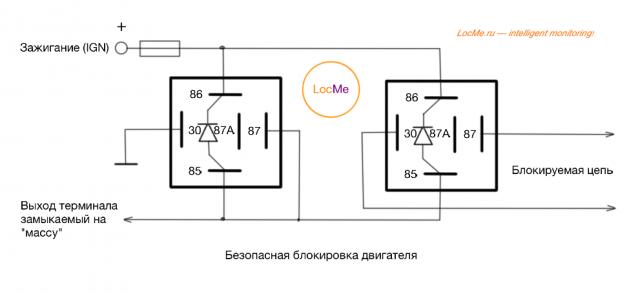 Схема для безопасной блокировки двигателя на двух реле с защитными диодами