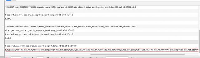 Данные контроллера RC mini в системе мониторинга Wialon