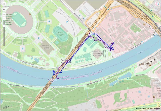 Пример трека ADM50 во время пешей прогулки