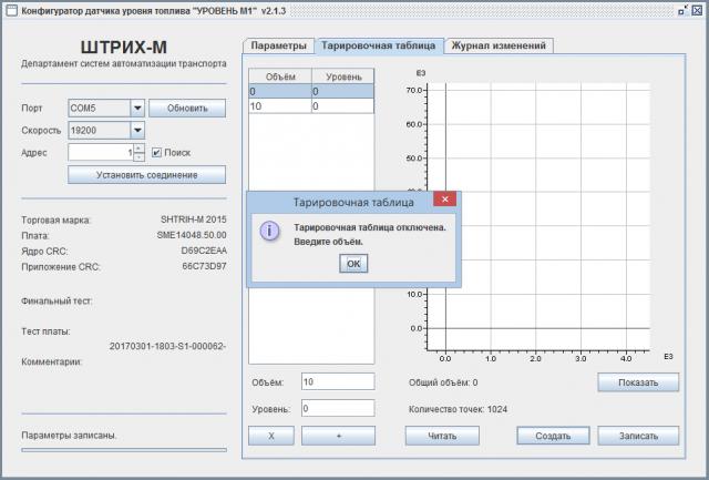 Конфигуратор датчика уровня топлива Уровень М1